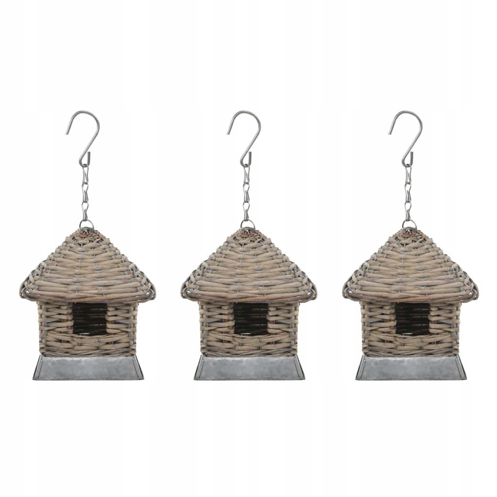 Domov pre vtáky, 3 ks, prútený