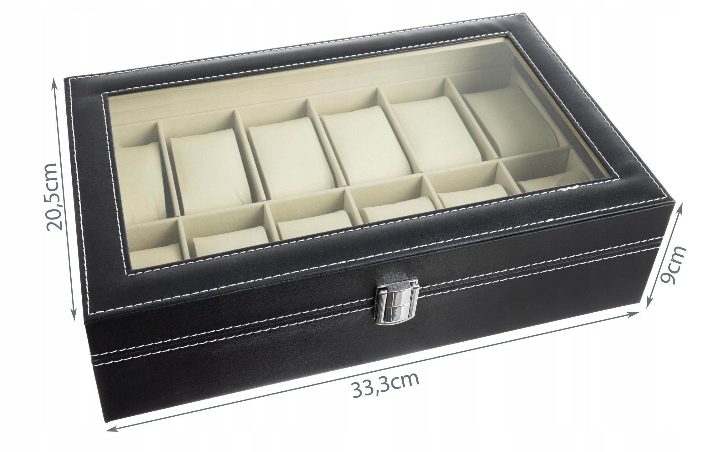 Pudełko Etui Organizer Szkatułka na Zegarki 12szt Waga produktu z opakowaniem jednostkowym 1.29 kg