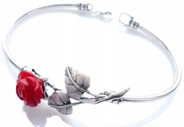 NÁRAMOK STRIEBORNÝ, coral Rose