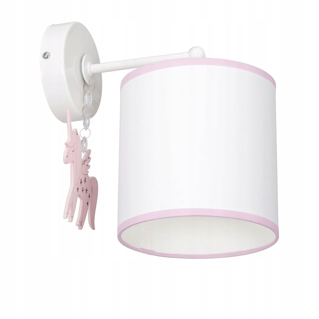 Dziecięca lampa kinkiet kucyk biały różowy