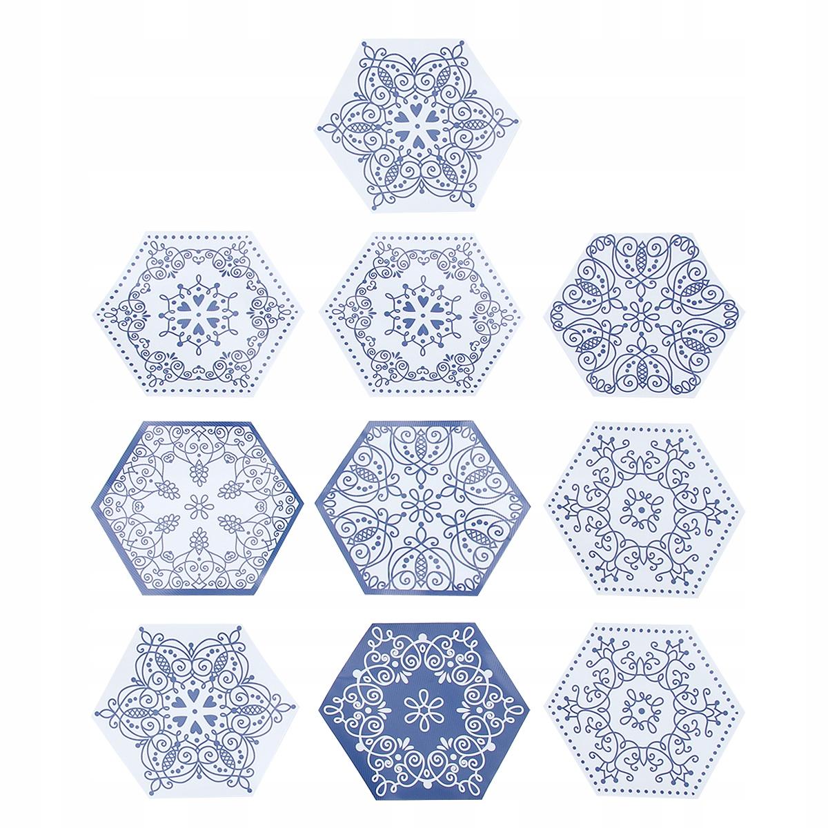 10pcs 3D Retro Hexagonal Simulation stickers