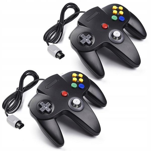 2ks ovládač Retro Nintendo 64 N64, čierny