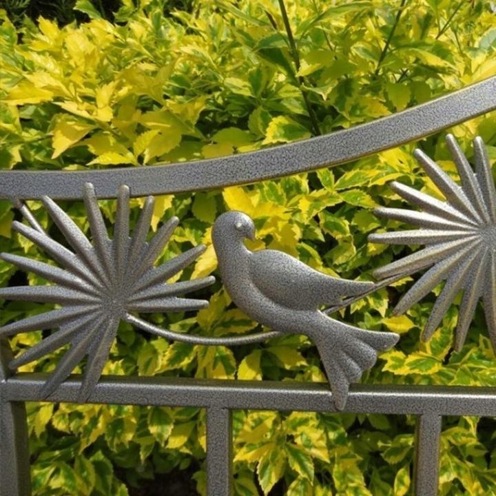 Kovová záhradná lavica s dekoráciami ART DECO * Výrobca Garden Pleasure