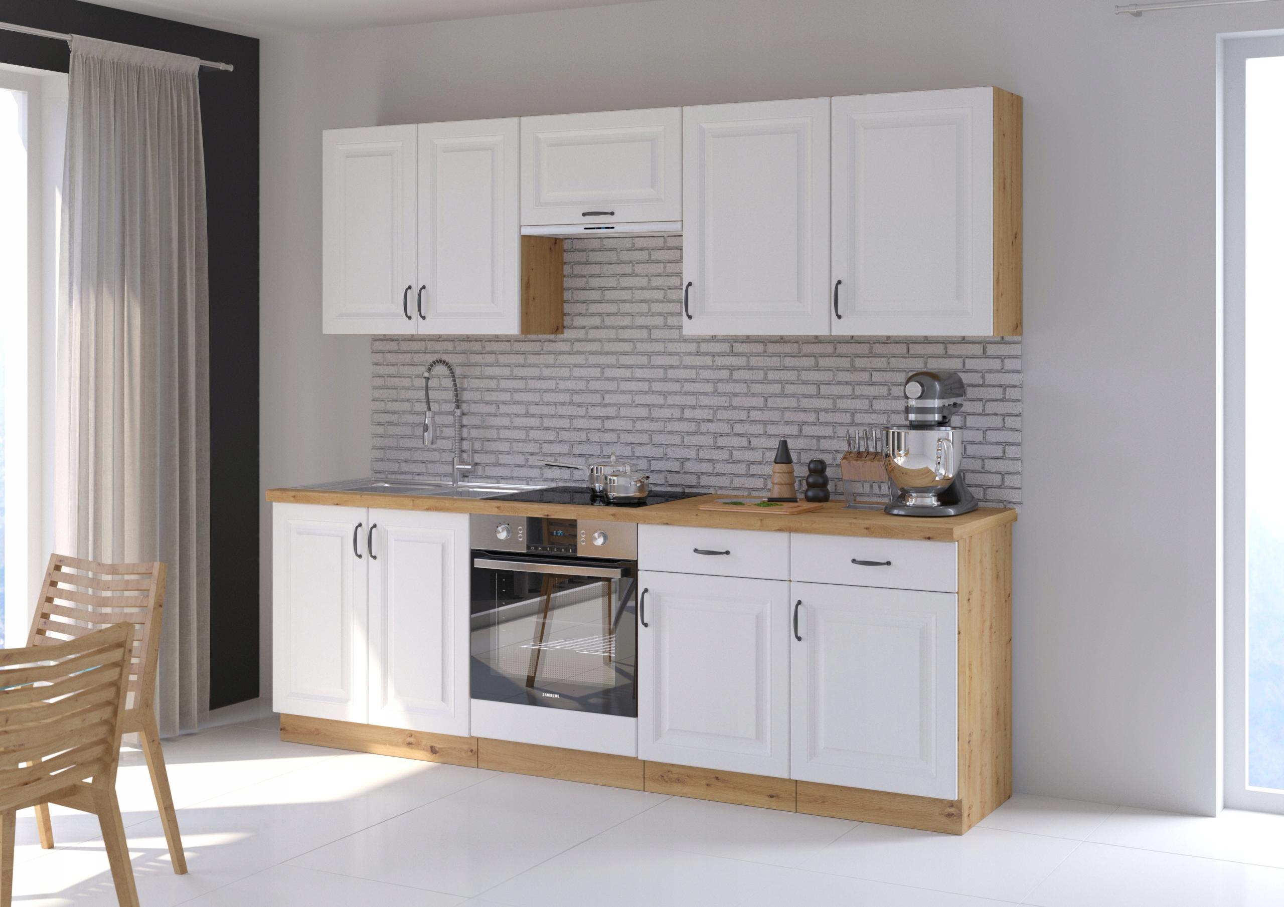 kuchynský nábytkový set RETRO 240cm BIELY MAT
