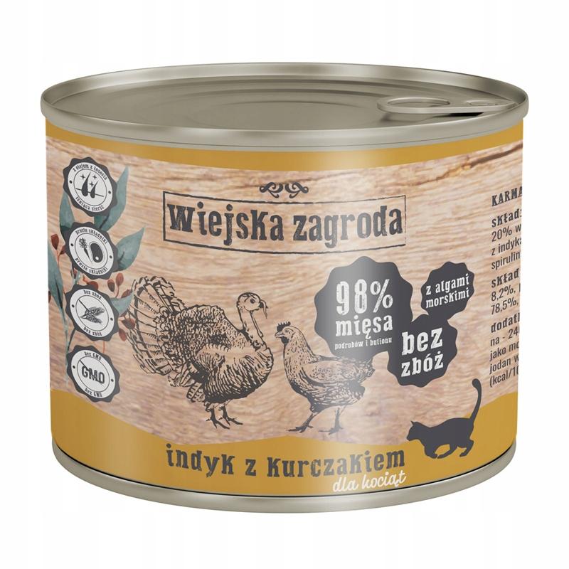WIEJSKA ZAGRODA Kocięta Karma MIX 2 SMAKÓW 12x200g Marka Wiejska Zagroda