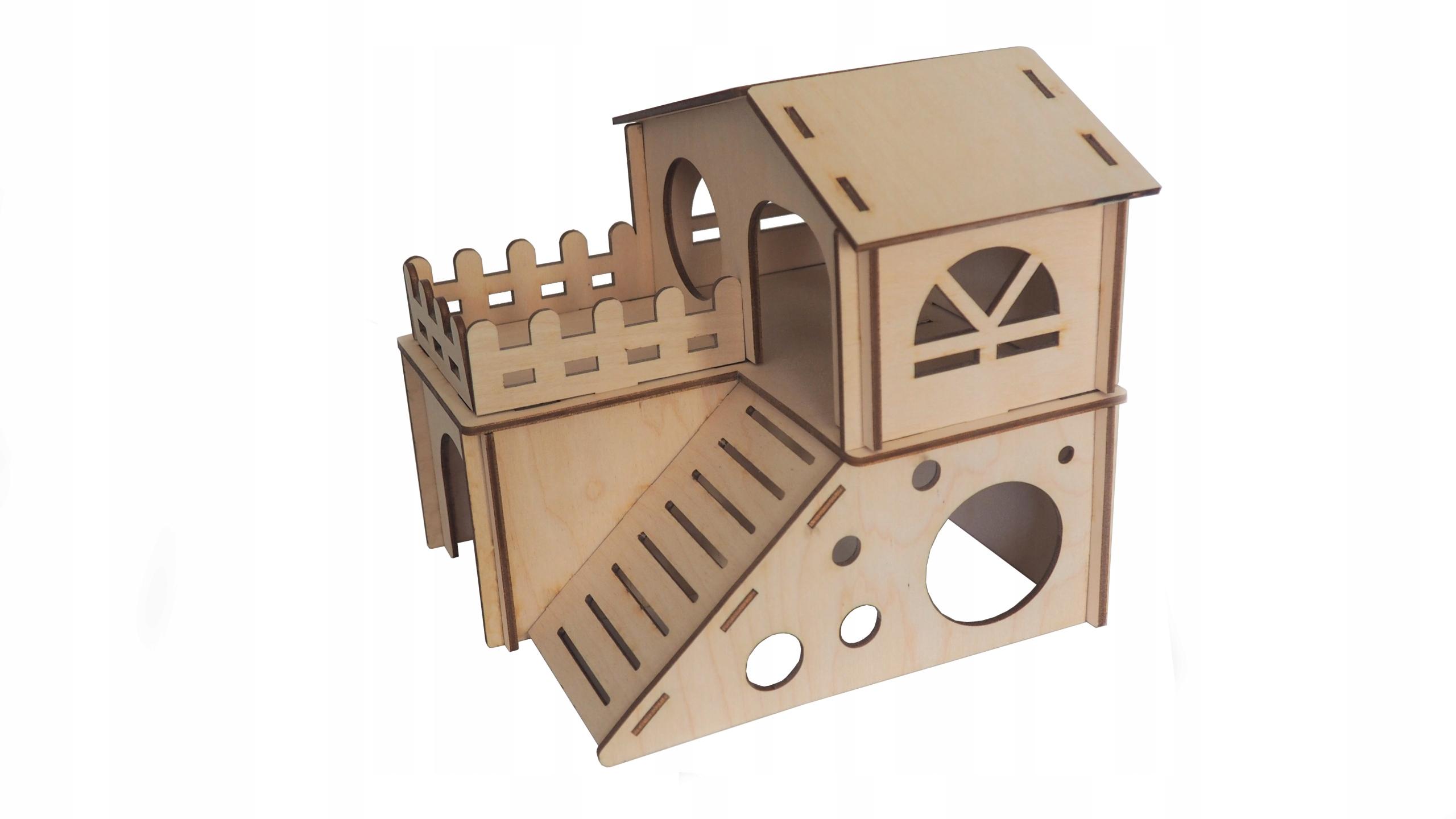 Деревянный двухэтажный домик для мышонка-хомяка
