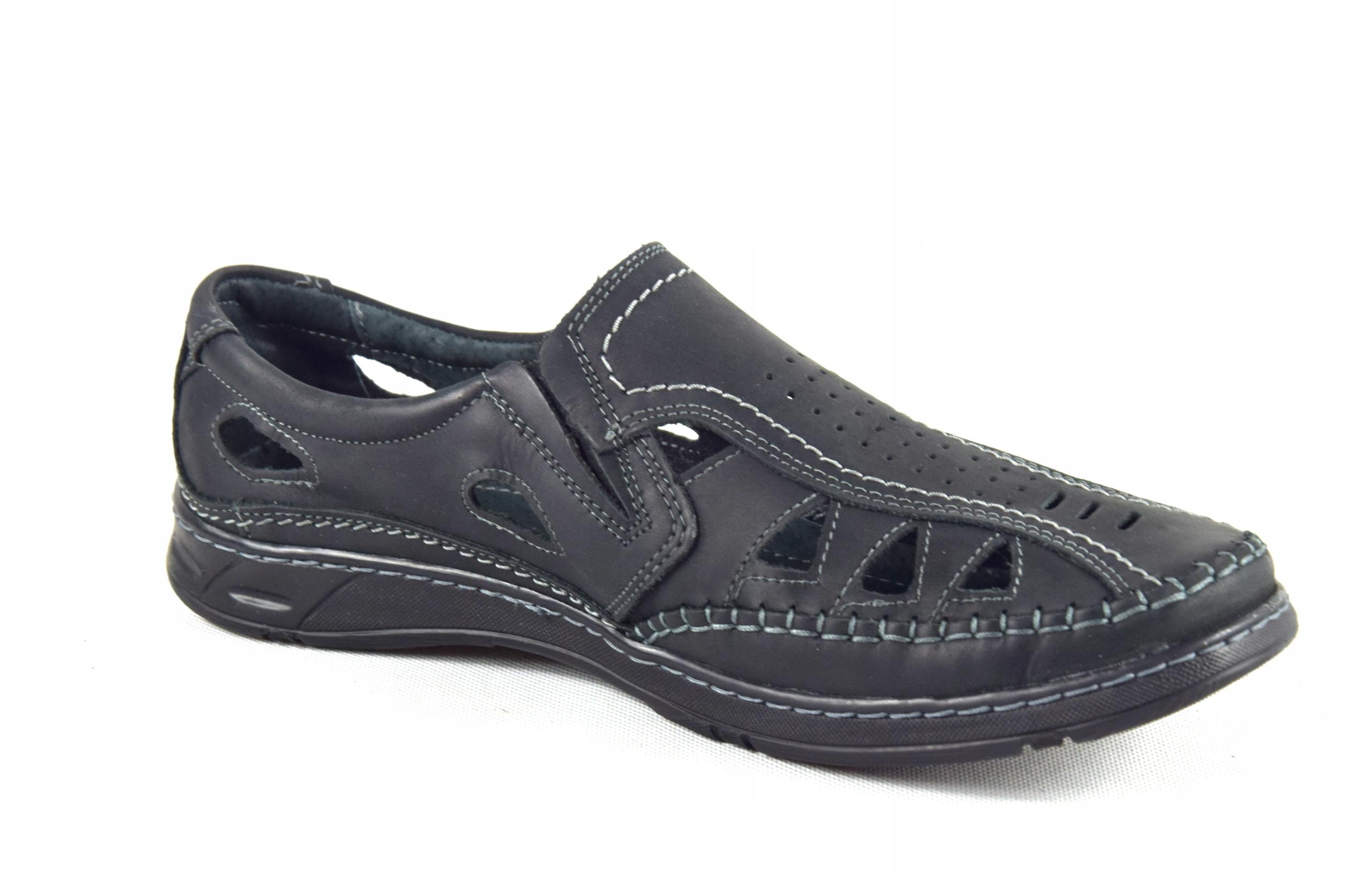 Męskie buty skórzane polskie mokasyny skóra 0270CC Rozmiar 40