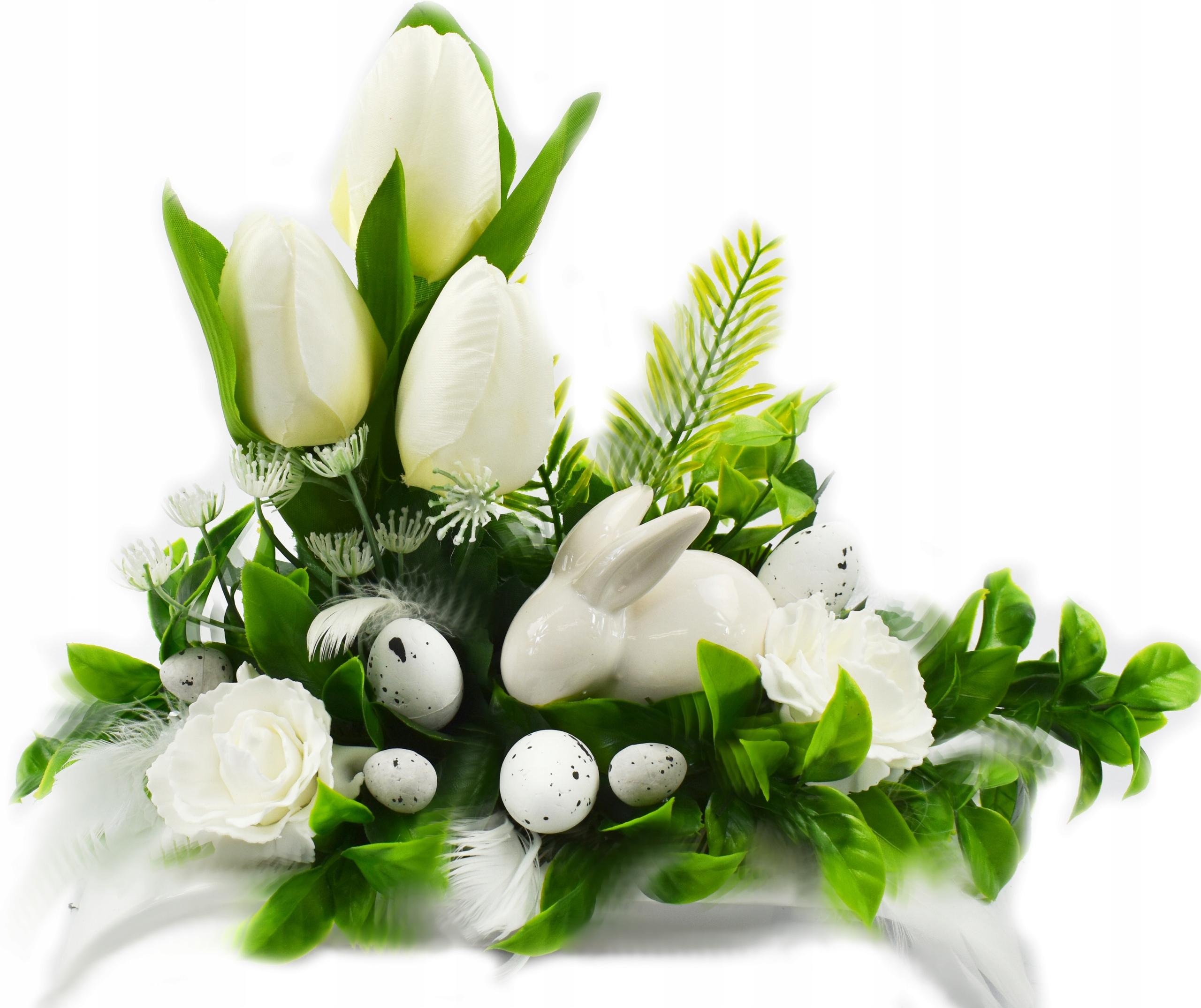 Wielkanocny stroik Zajączek na grób Wielkanoc