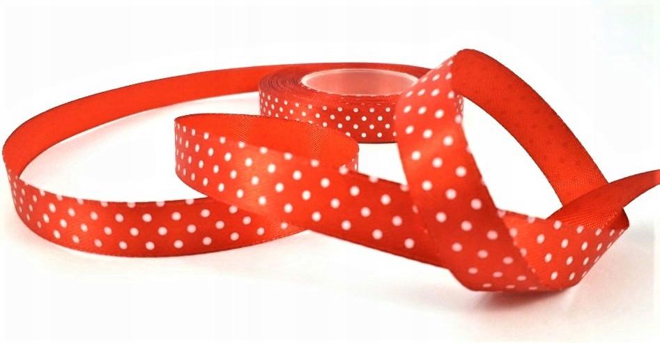 Wstążka satynowa tasiemka czerwona kropki 12mm 22m