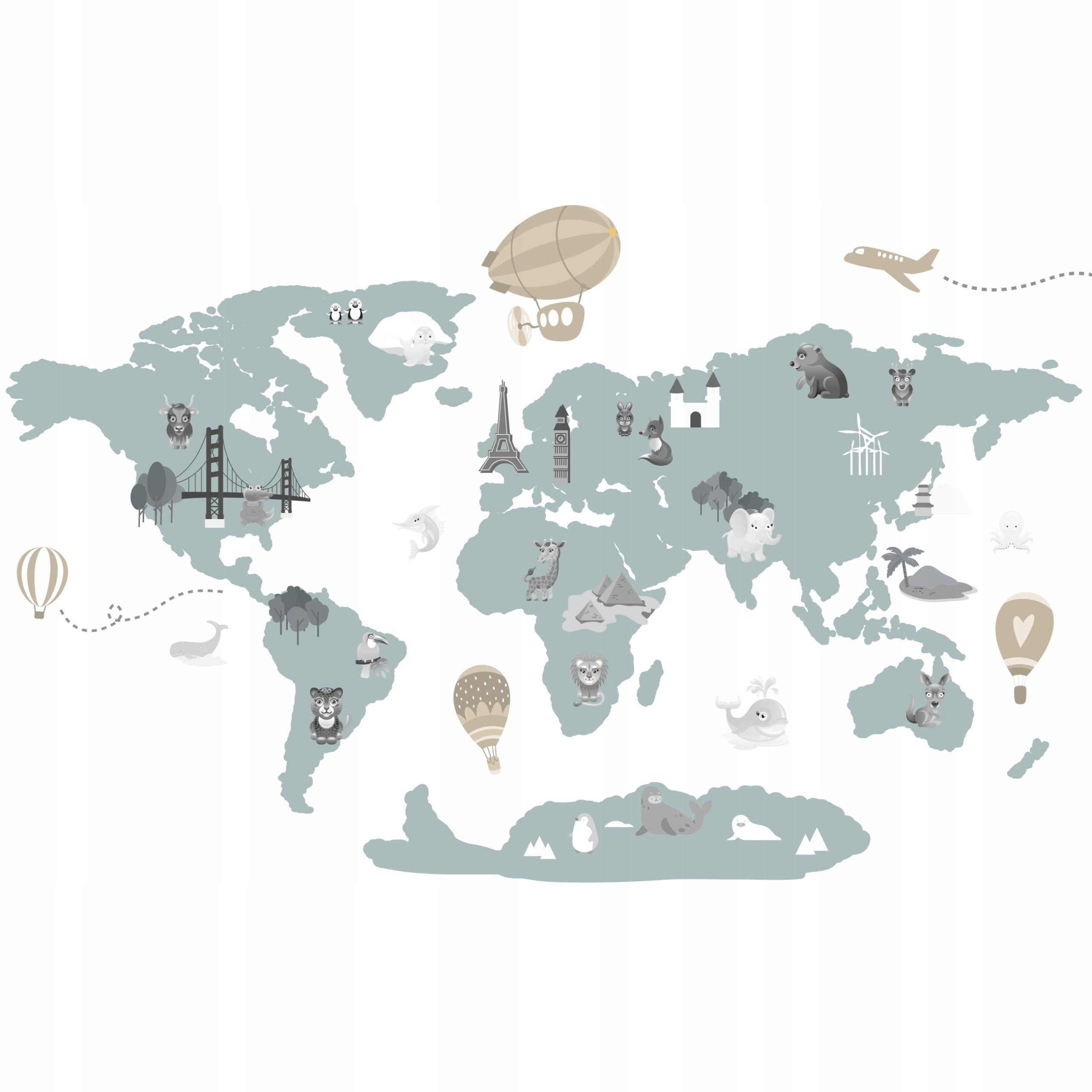 naklejki dla dzieci na ścianę mapa świata mapy