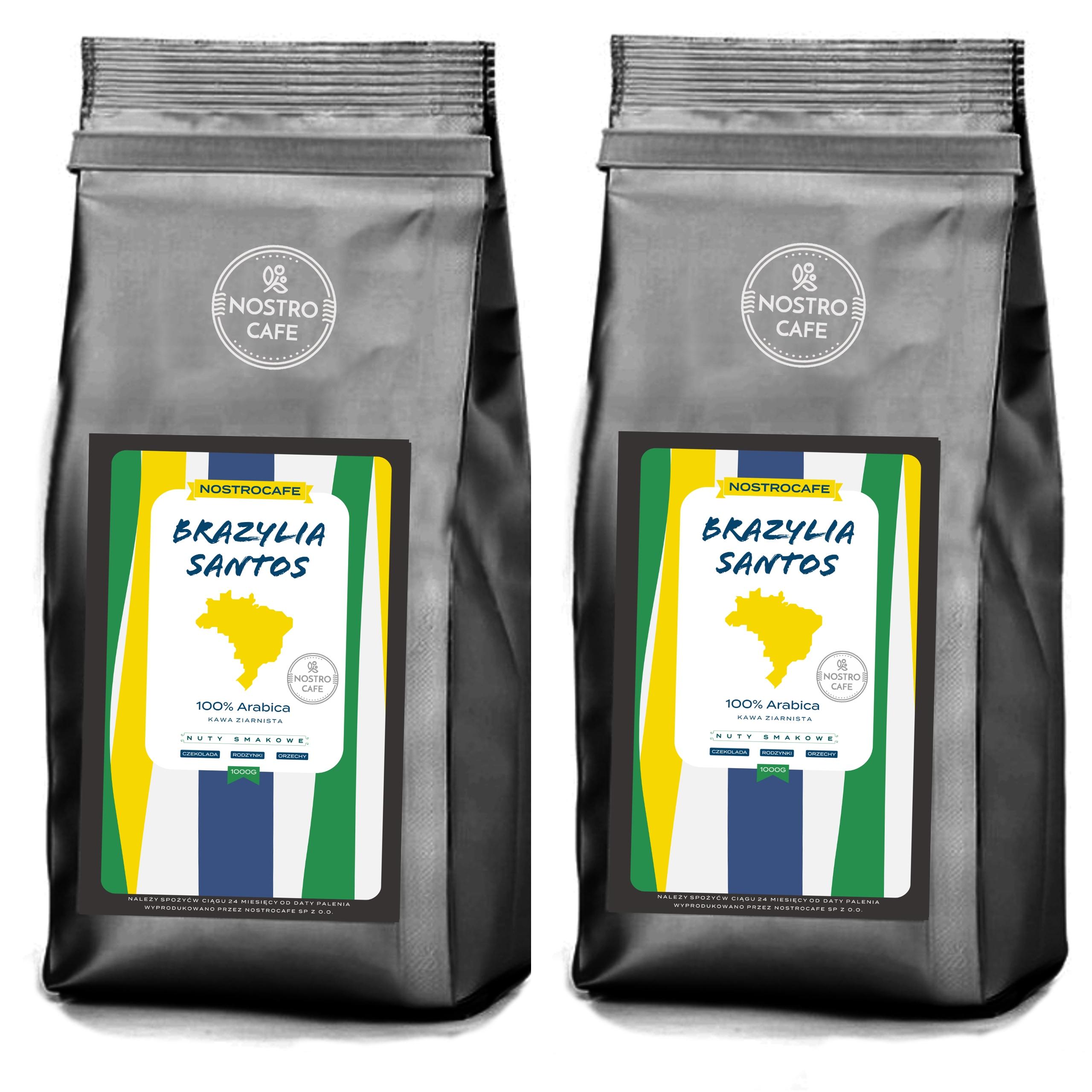 Kawa Ziarnista 2KG BRAZYLIA SANTOS - Świeżo Palona