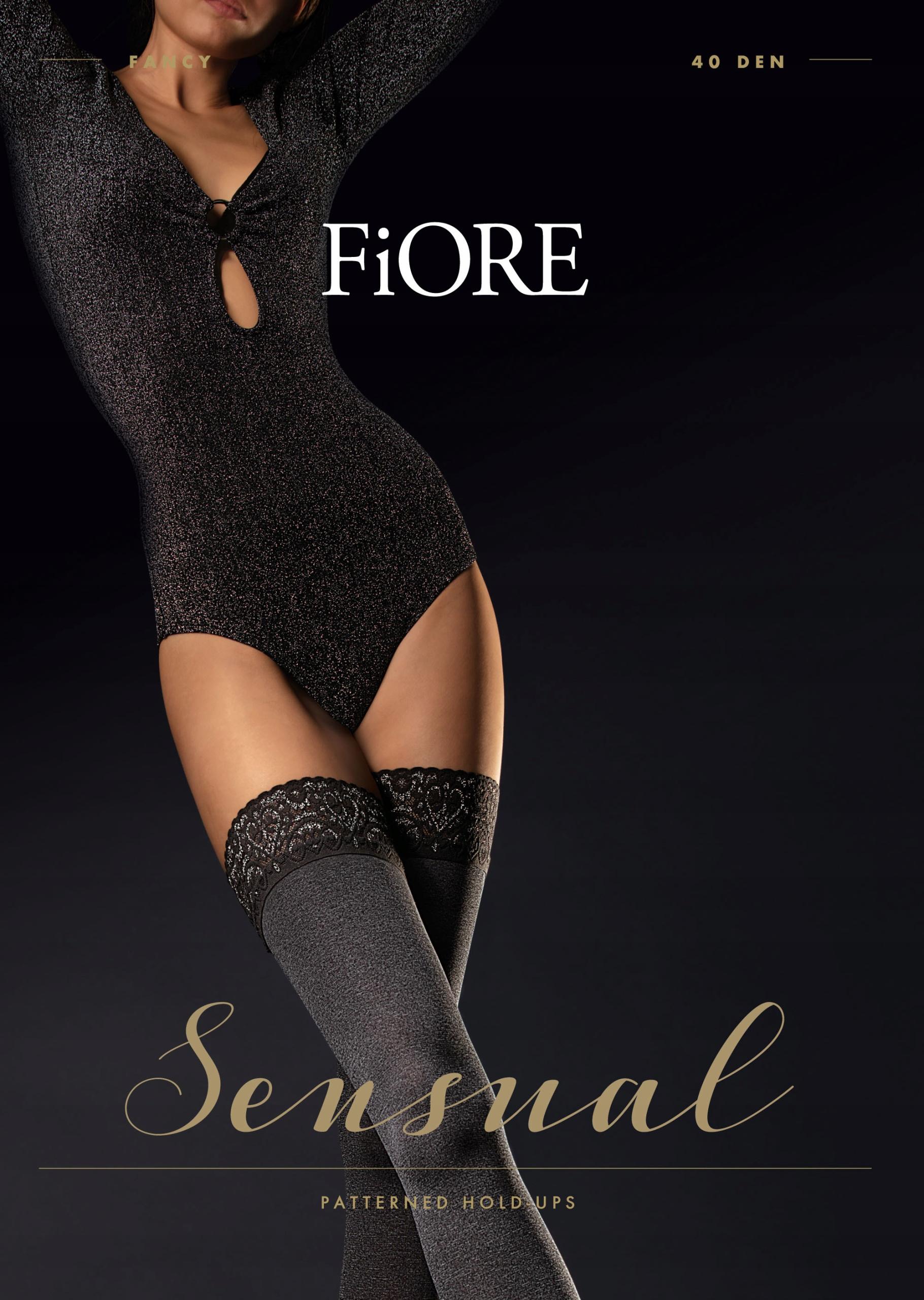 Fiore Fancy - pończochy samonośne melanż 2 Czarny