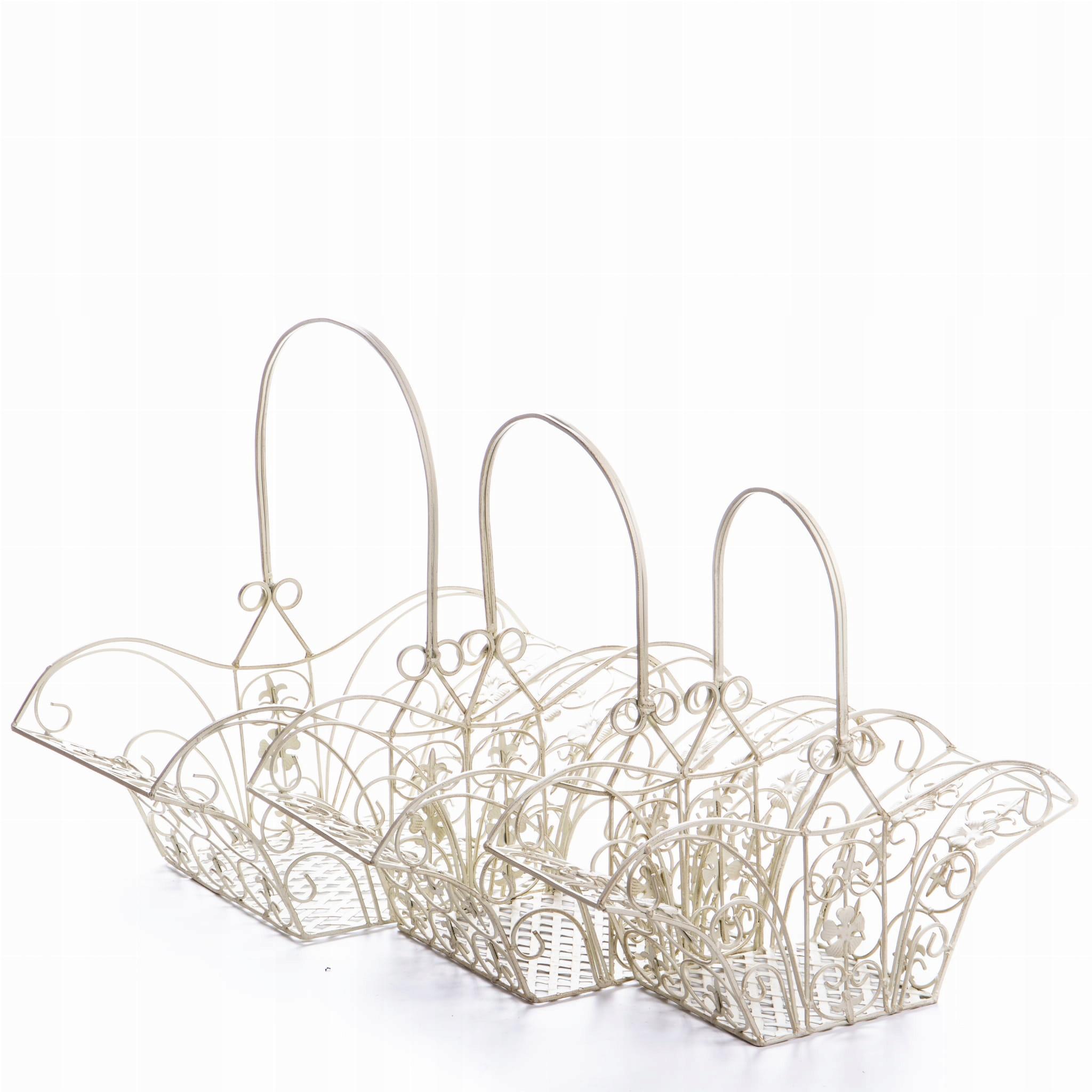 Sada kovových košov Ecru pre záhradu v retro štýle