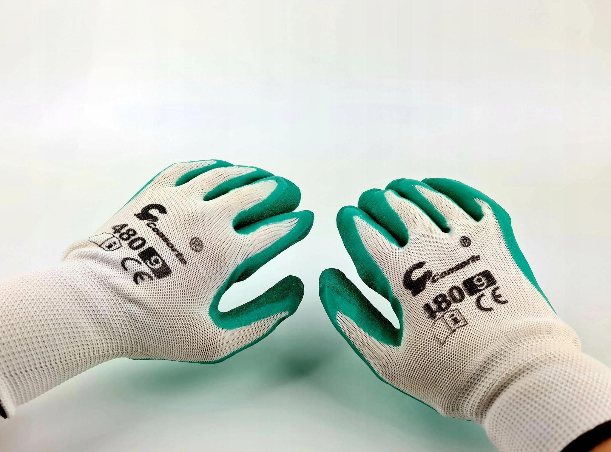 Перчатки рабочие, зеленые, с латексным покрытием, прочные r9