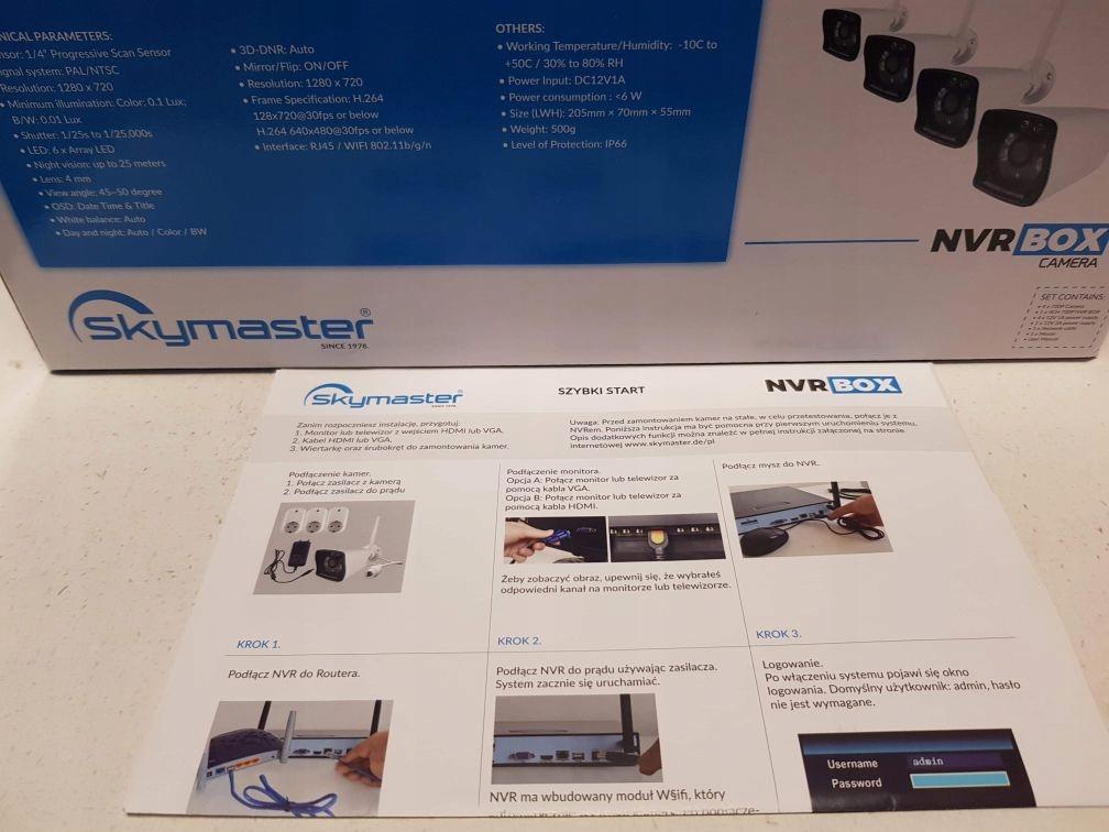 Zestaw monitoringu 4 kamery WIFI Nagrywarka p2p Pojemność zainstalowanego dysku 0.5 TB