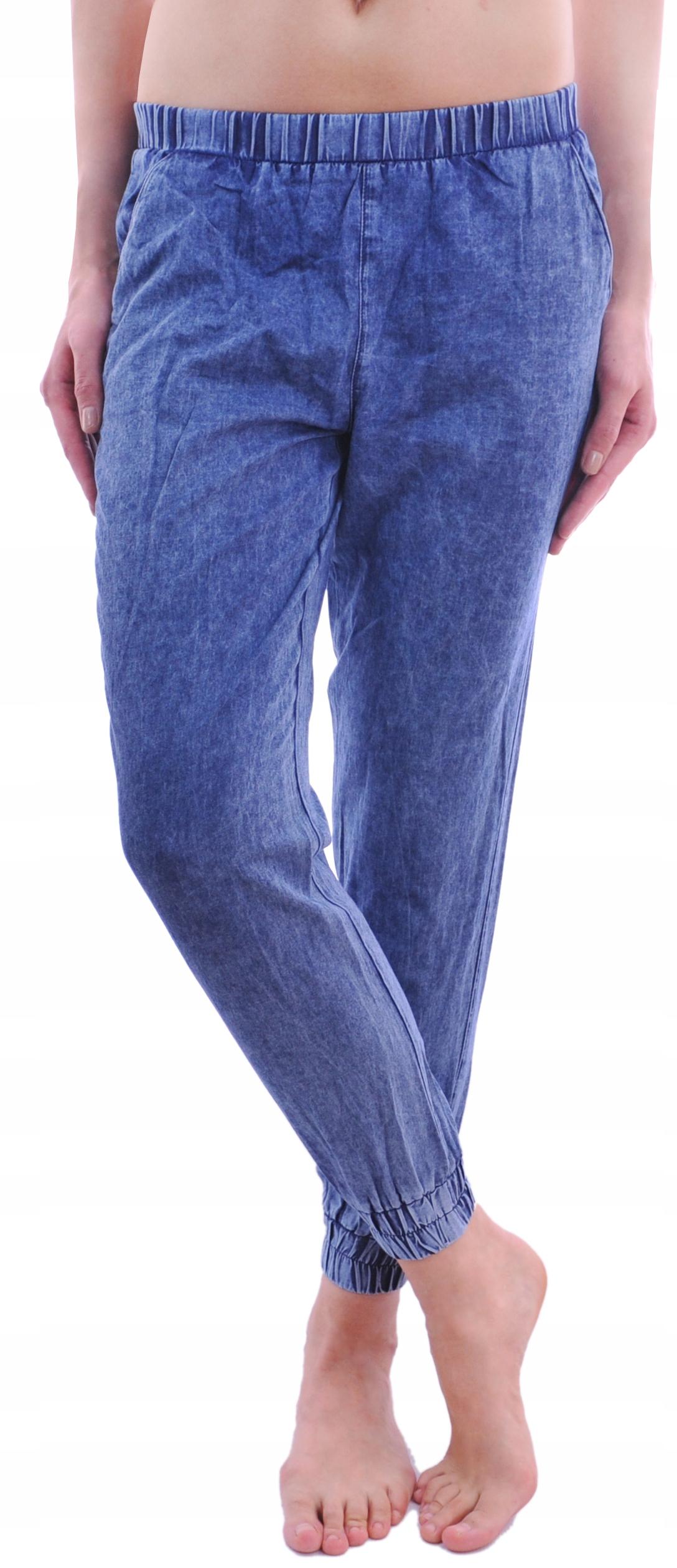 Calzedonia spodnie jeans marmurkowe ściągacze S