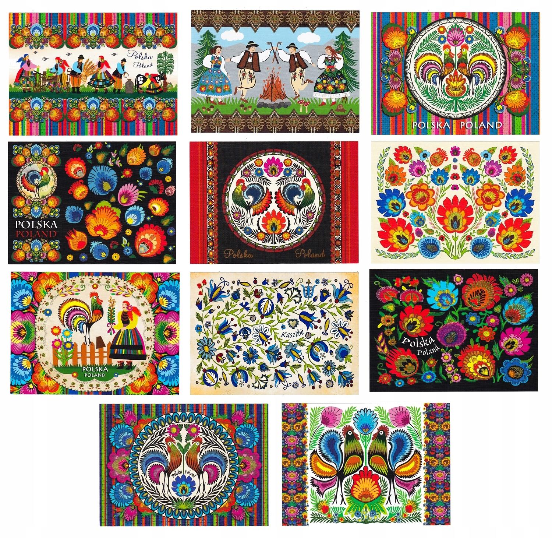 POLSKA folklor sztuka ludowa pocztówki 11 szt