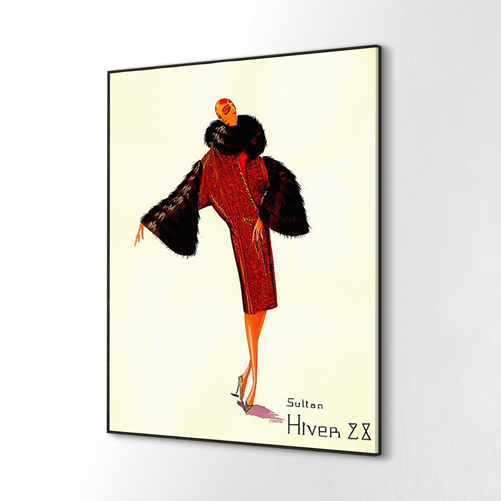 Canvas mały Moda zima płaszcz retro ścienny 40x60