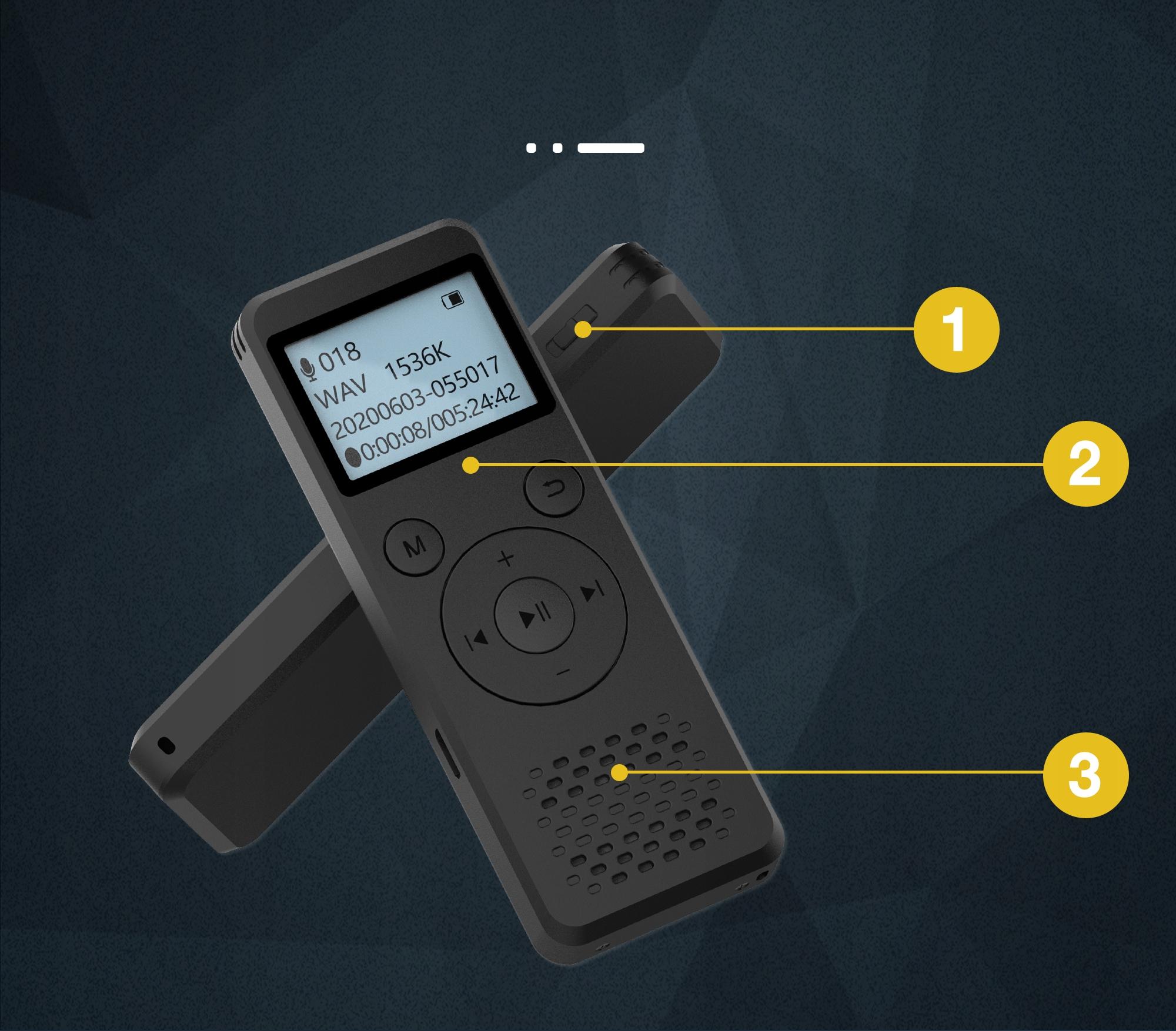 Szpiegowski Dyktafon cyfrowy1536Kbps 8GB detekcja Wbudowana pamięć 8 GB