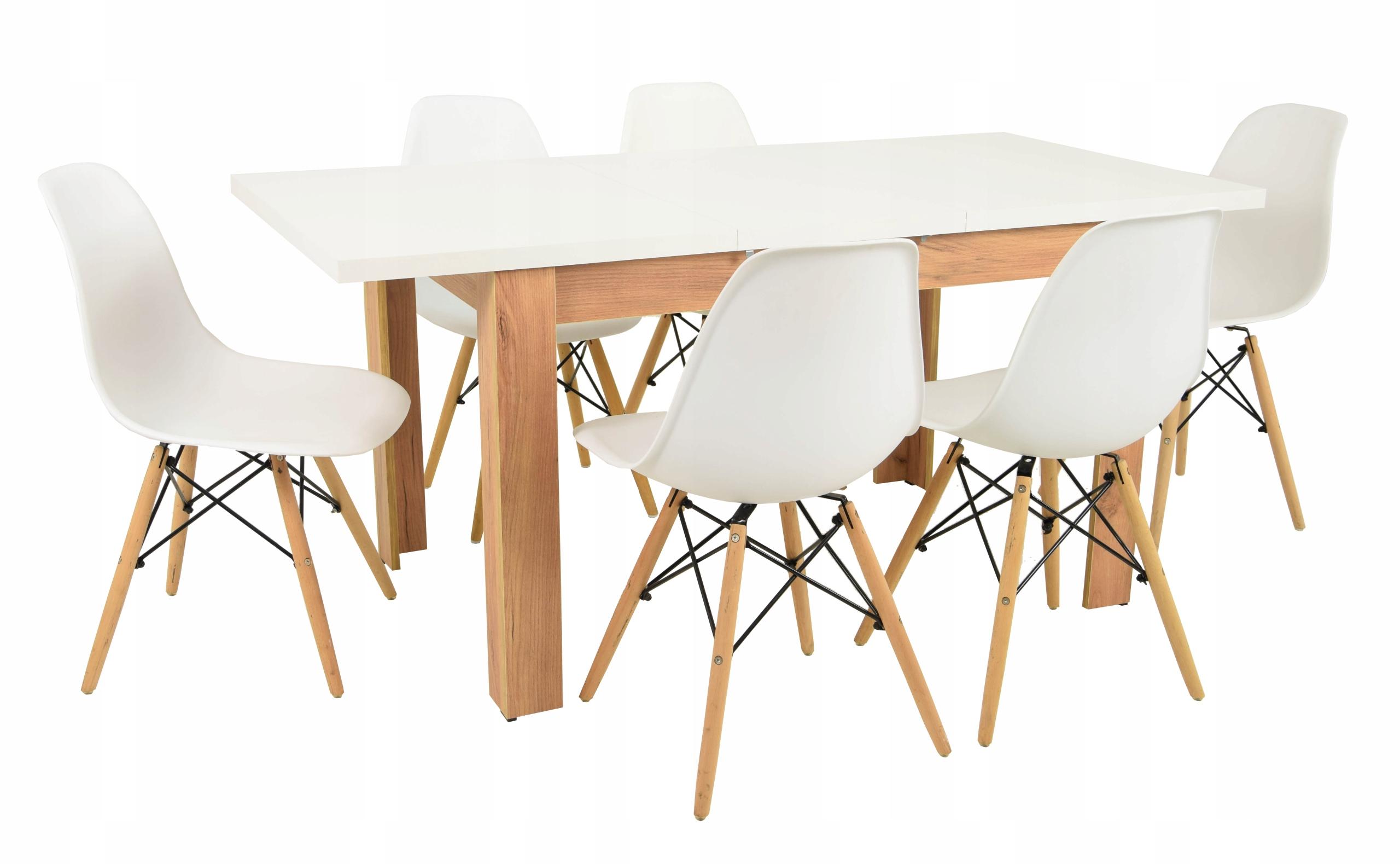 Stół rozkładany Dąb 80x120/160 6 krzeseł Białych