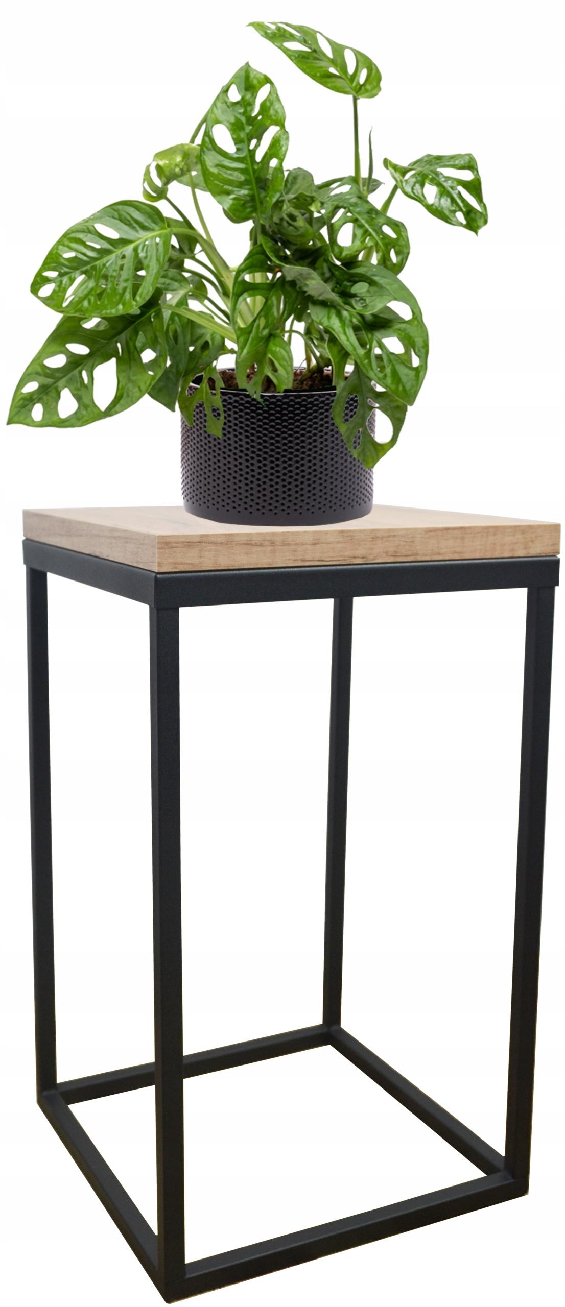 Металлическая подставка для растений loft, черная верхняя часть, Дуб Craft 40см