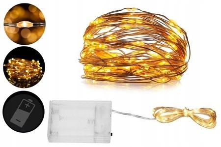 Провода, белые, тёпло-белые лампы, 50 светодиодных батареек