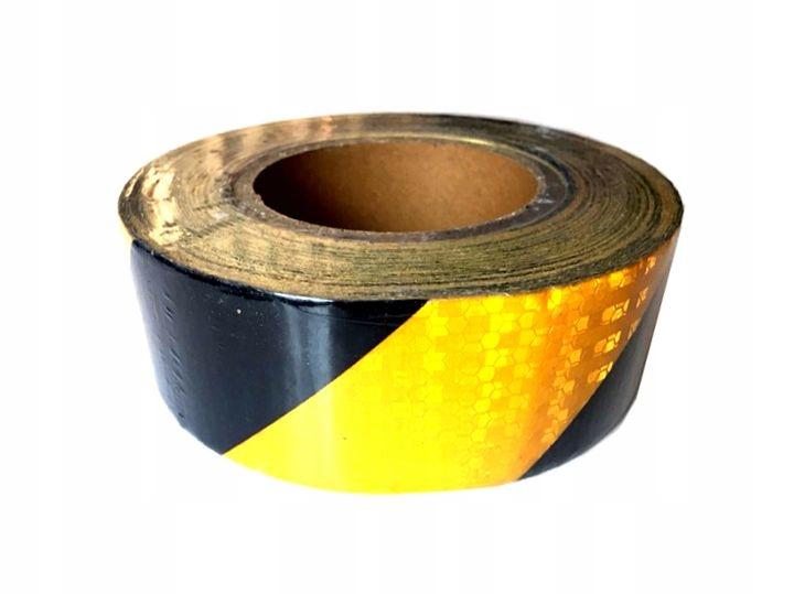 Лента оградительная светоотражающая желто-черная 25mx5cm