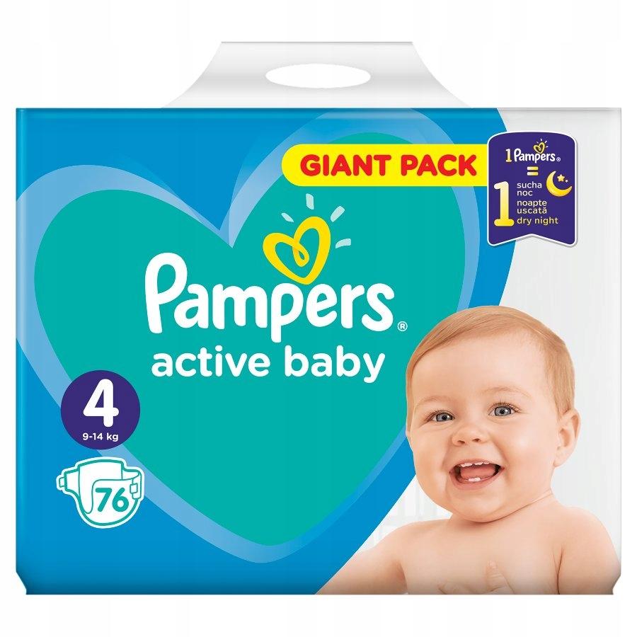 Pampers active baby размер 4, 76 подгузников
