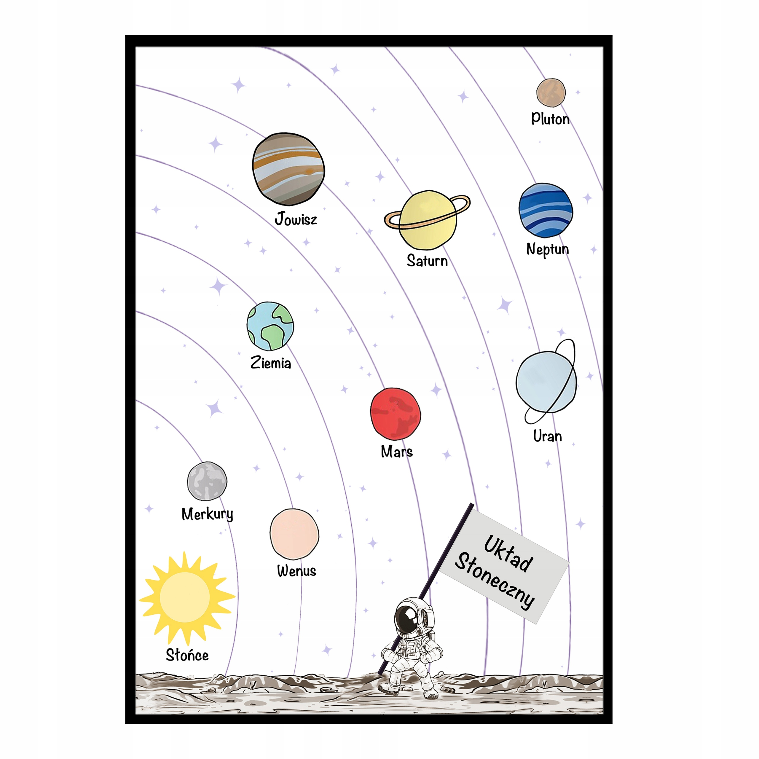 Плакат формата A2 или 40x50 для детской солнечной системы