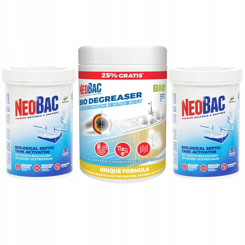 NeoBac Bakterie do oczyszczalni +Odtłuszczacz ROK