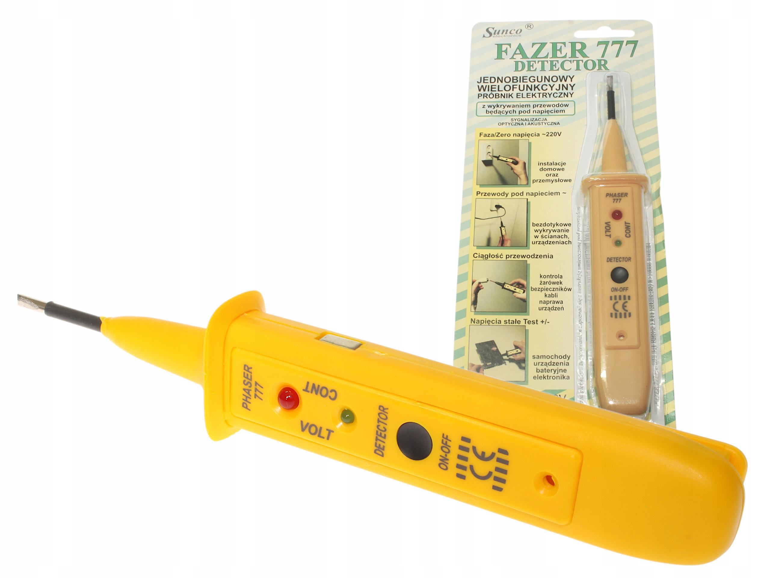 Detektor FAZER 777 POLSKI Próbnik Tester Napięcia