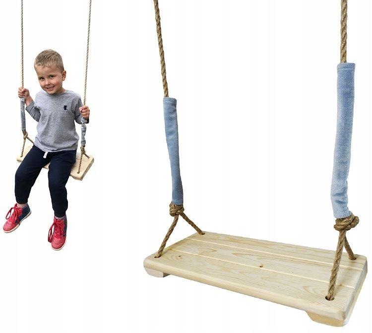 Деревянные качели для детей.Регулируемые веревки 190 см.