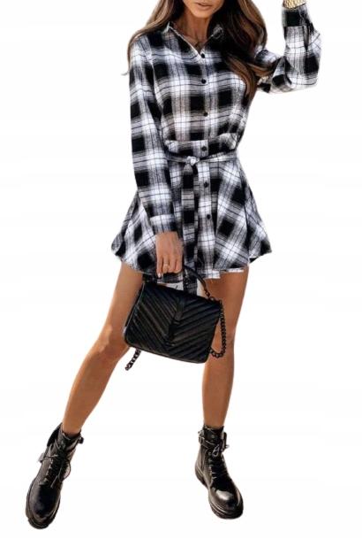 Sukienka w kratę Koszula Biało/ Czarna