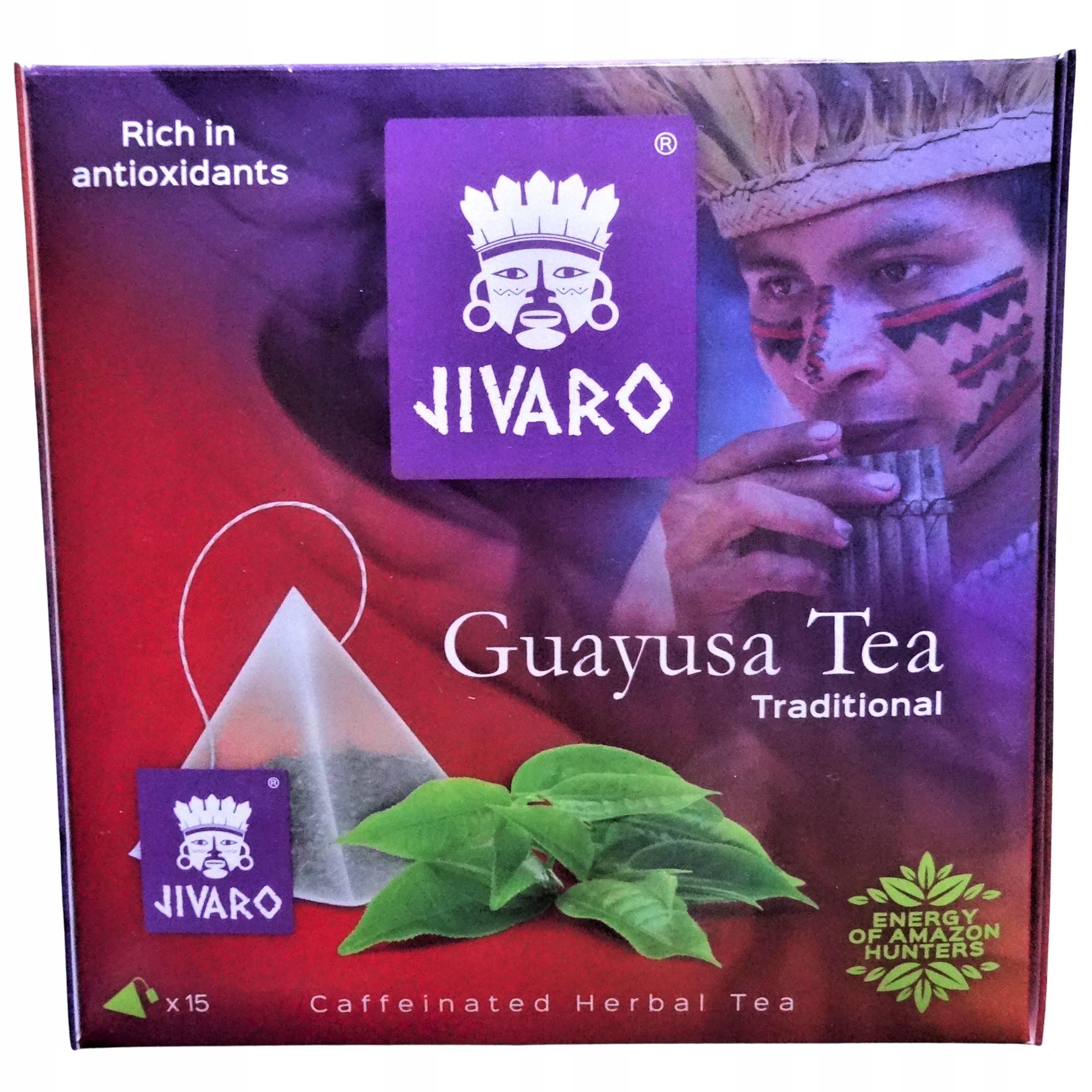 GUAYUSA Herbata JIVARO ZIELONA ENERGIA ENRGIA SLIM Cechy dodatkowe ekologiczne koszerne niskotłuszczowe odpowiednie dla diety ketogenicznej raw (surowe) superfood wegańskie wegetariańskie