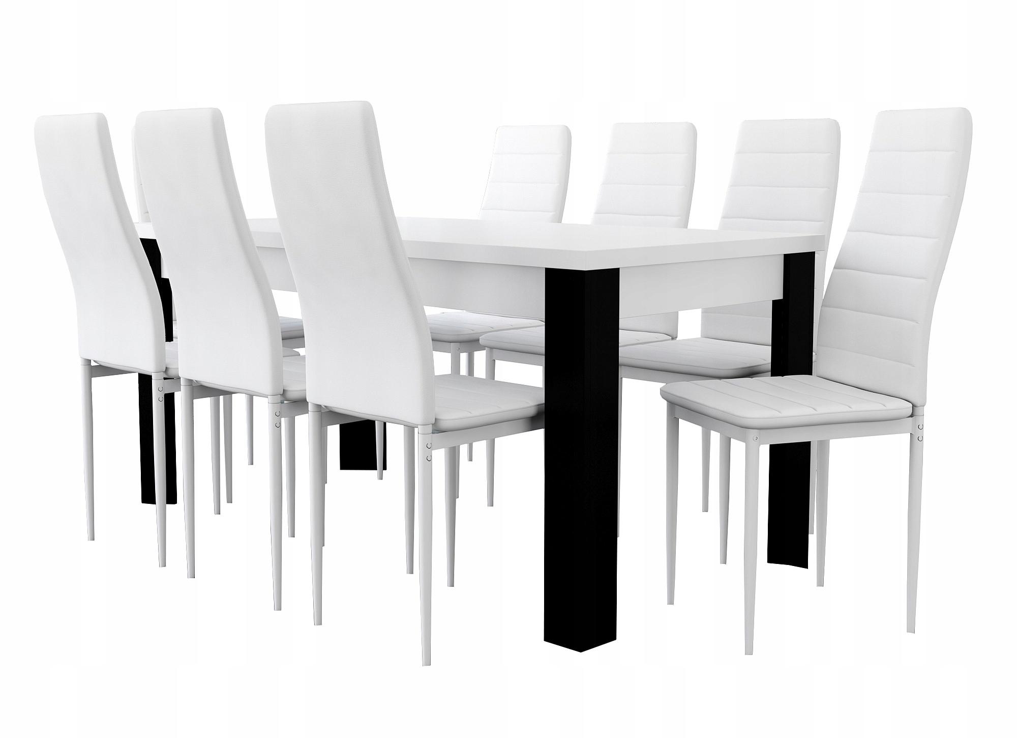 Rozkładany stół 90x160x200 + 8 krzeseł