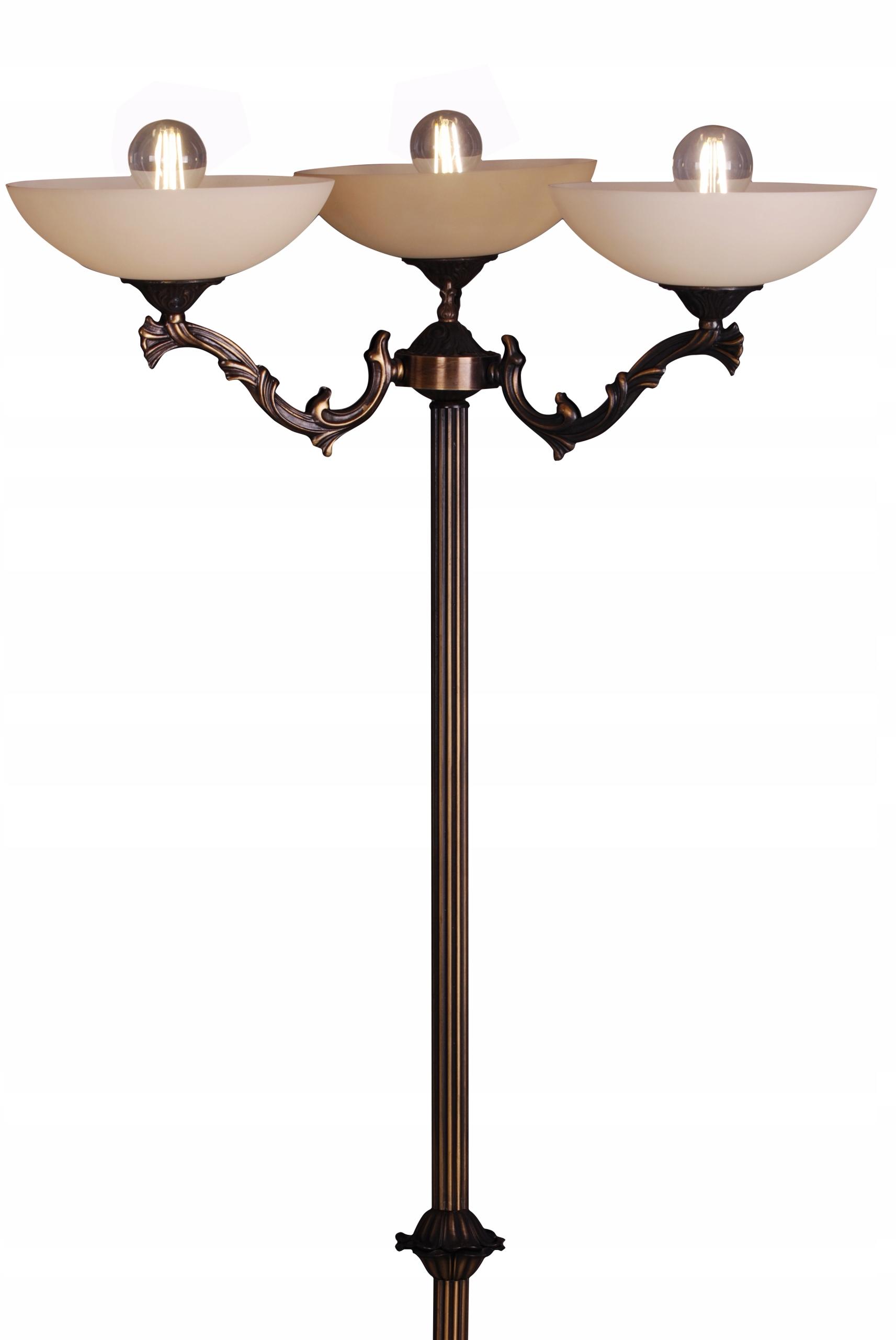 Podlahová lampa Retro, trojité odtiene, bronzová