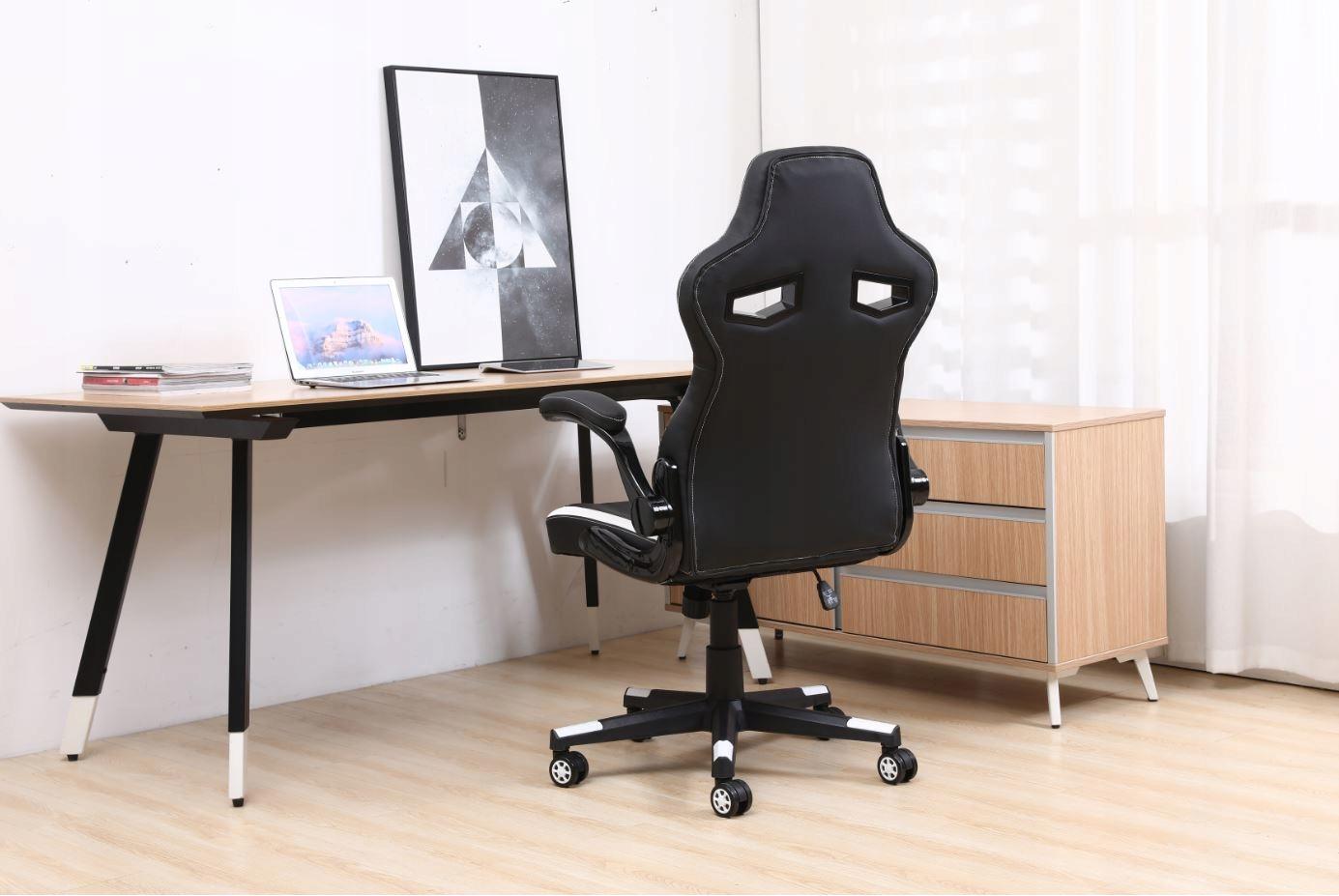 Поворотный игровой стул для рабочего стола Цвет обивки: черно-белый
