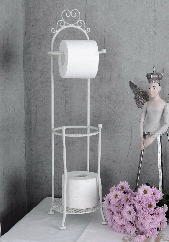 Vintage kovový biely držiak na toaletné tkanivo