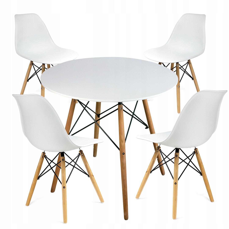 Stół okrągły + 4 krzesła skandynawskie nowoczesny
