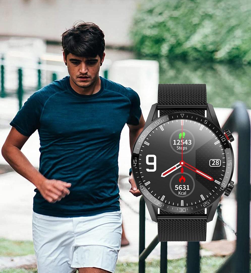 MENNS KLOKKE SMARTWATCH EKG-SAMTALER TRYKK 4.0 Type Smartwatch