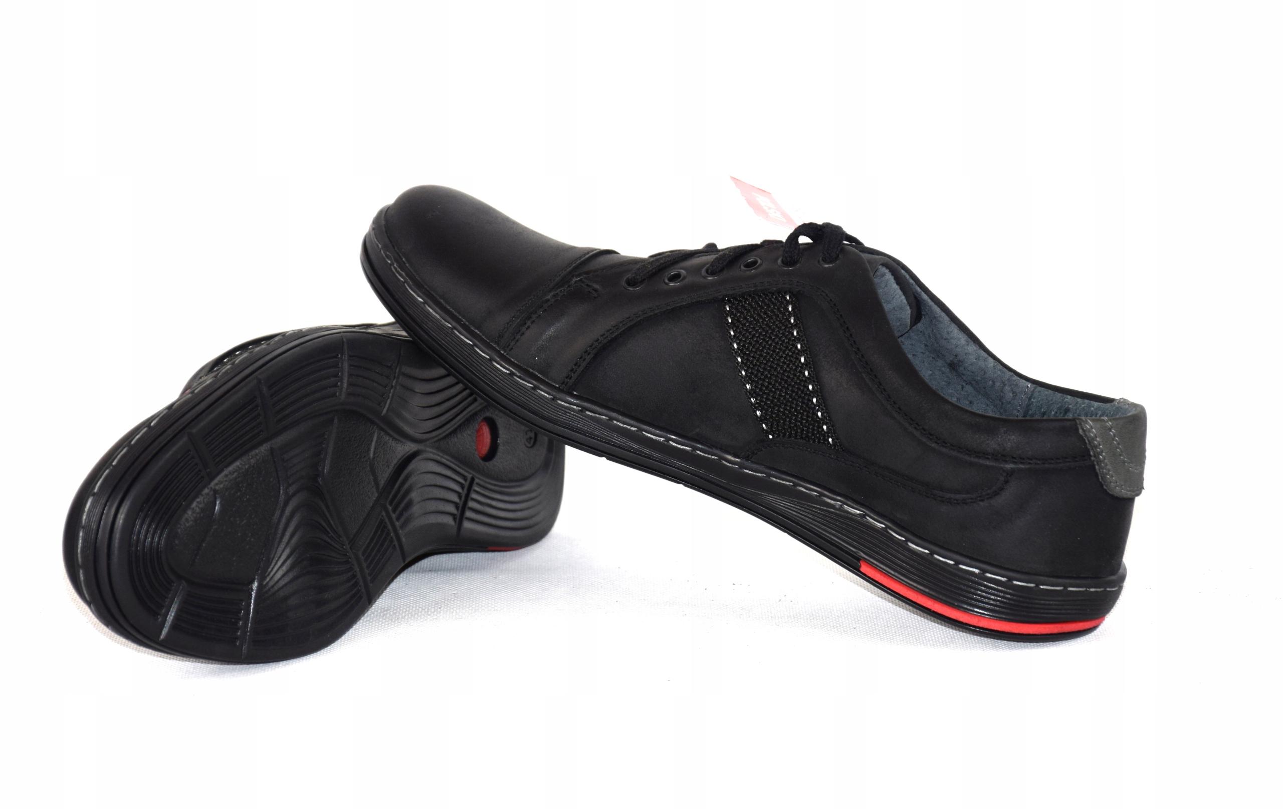 Półbuty czarne trampki skórzane buty polskie A238 Materiał zewnętrzny skóra naturalna