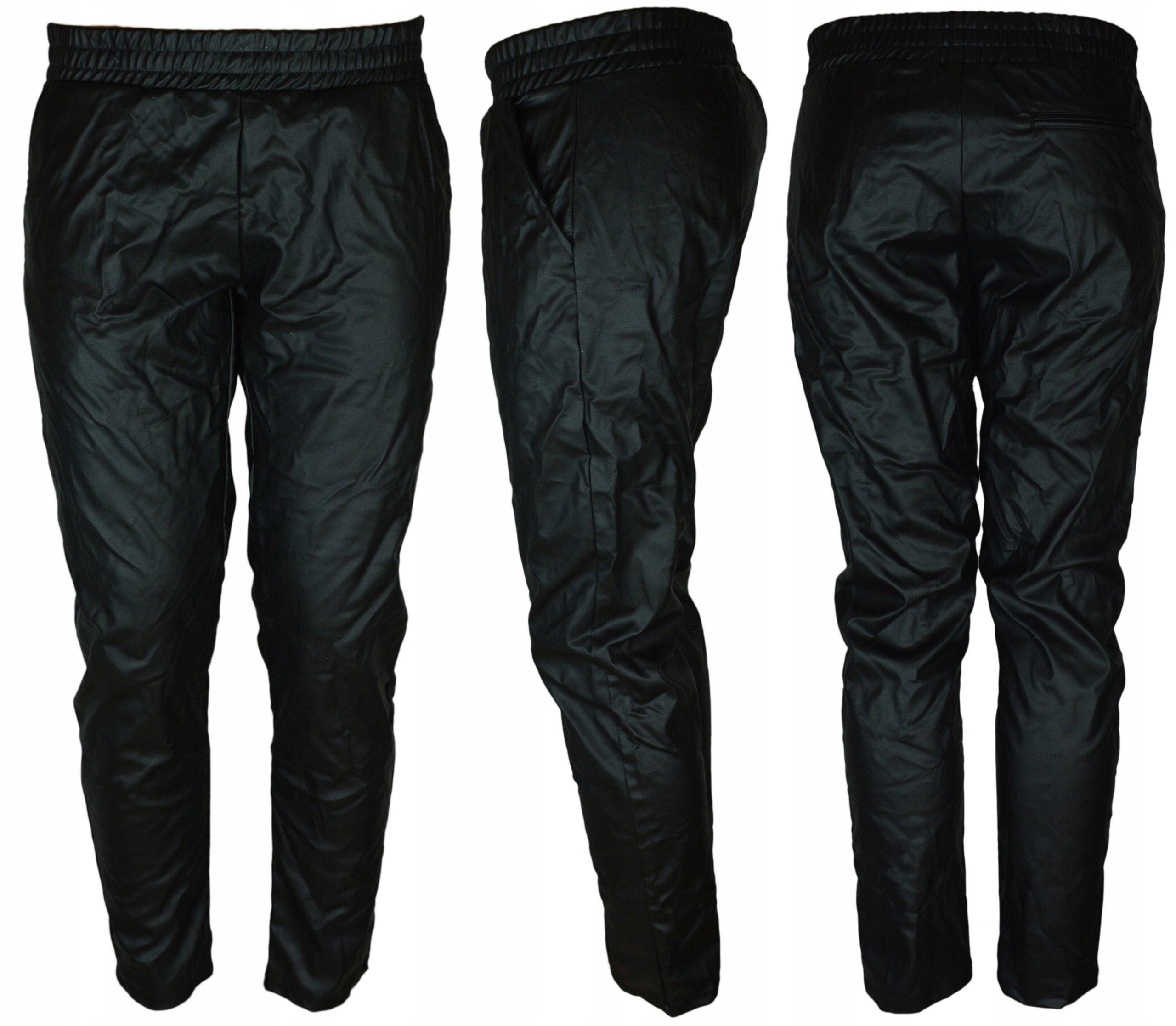 Tezenis spodnie skóra czarne skórzane luźne M