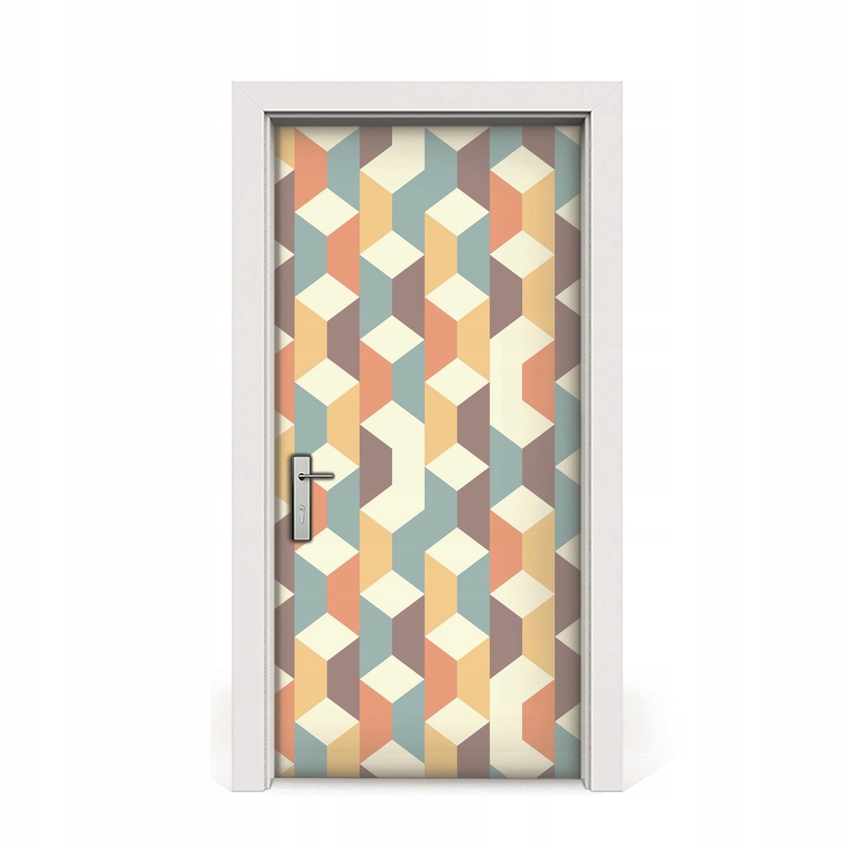 Nálepka na dvere Retro dyhovaný vzor 3D 95x205