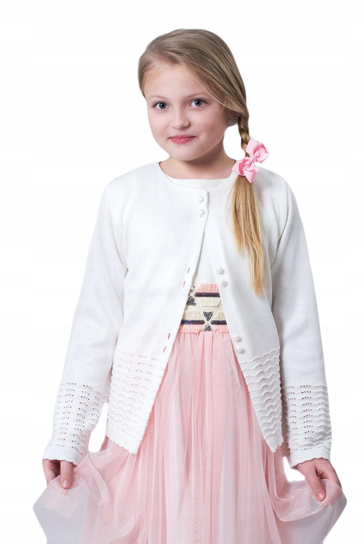 Biały Sweterek Dziewczęcy Komunia 134