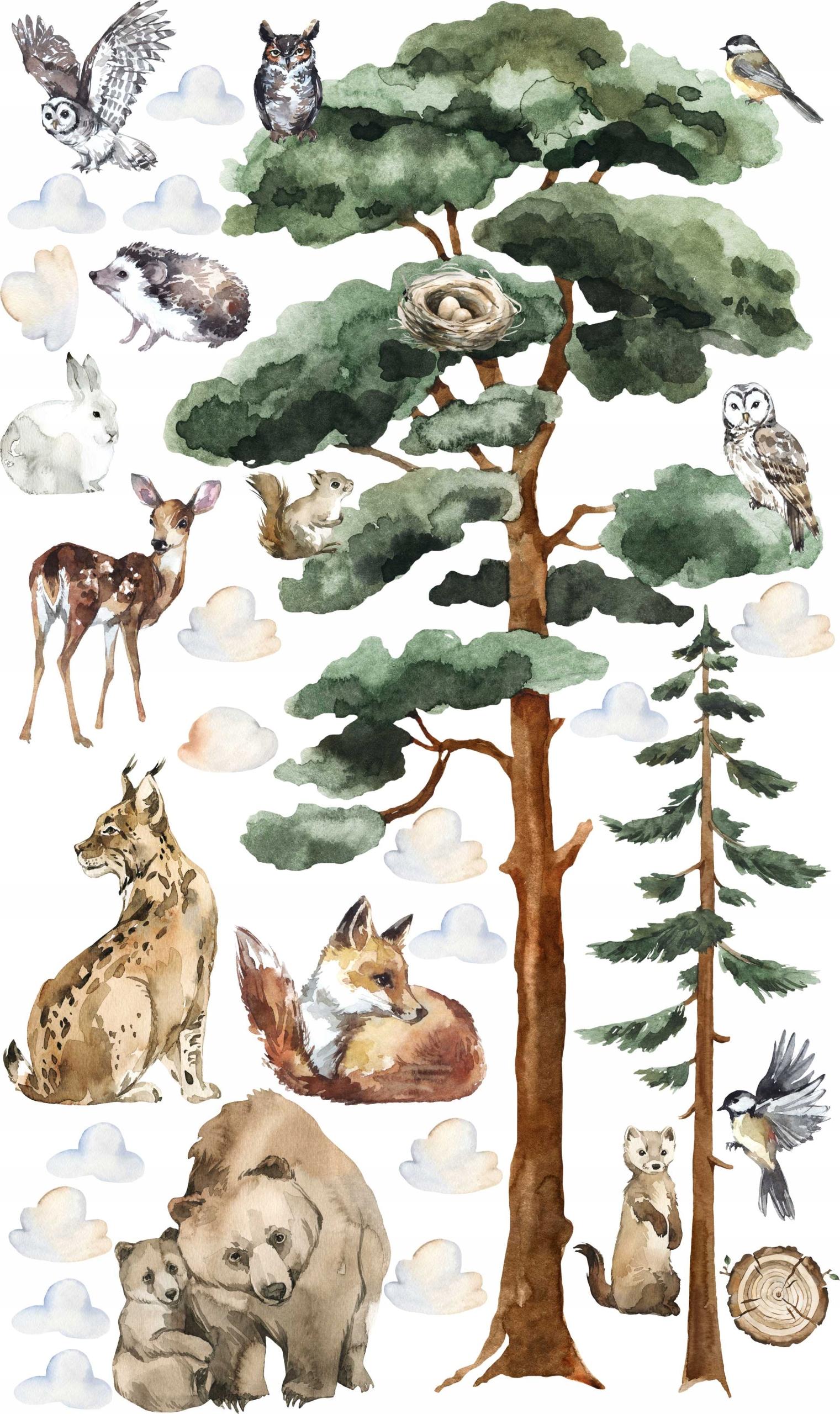 Наклейки ЛЕС ДЛЯ ДЕТЕЙ Лесные деревья на стену