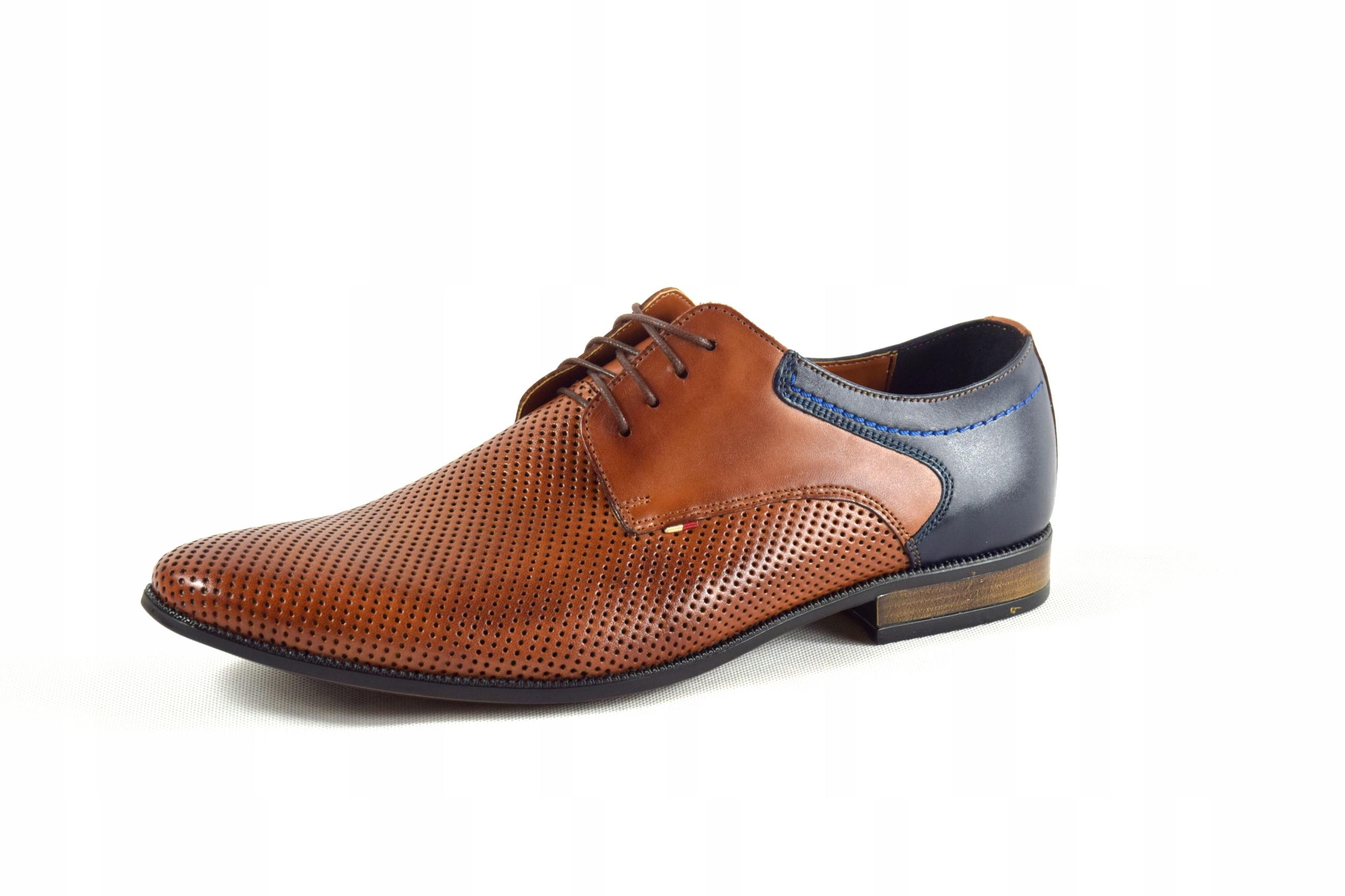 Buty męskie wizytowe skórzane brązowe obuwie 322