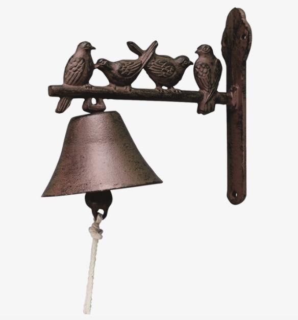 Классический чугунный колокольчик с птицами 19 см