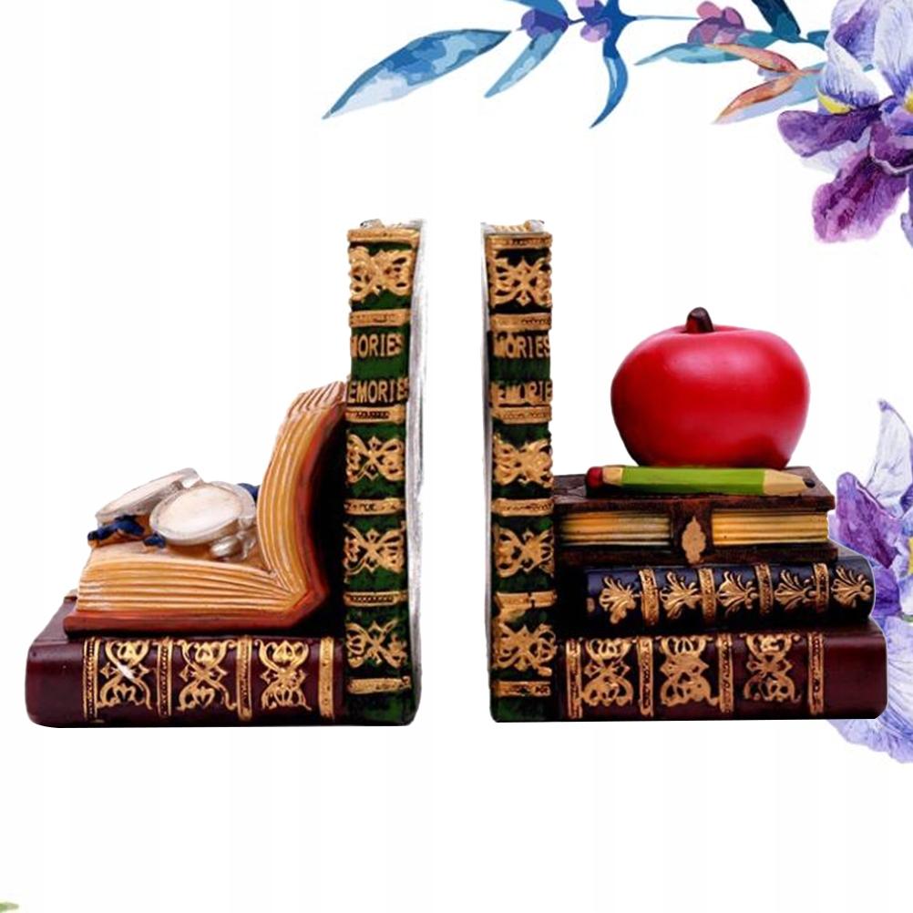 2PCS Retro Resin Bookends Roztomilá kniha na okuliare Apple
