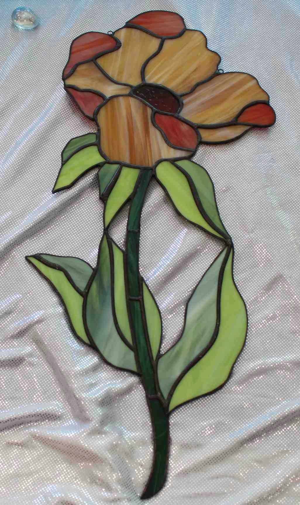 Тиффани желтый витраж с цветком