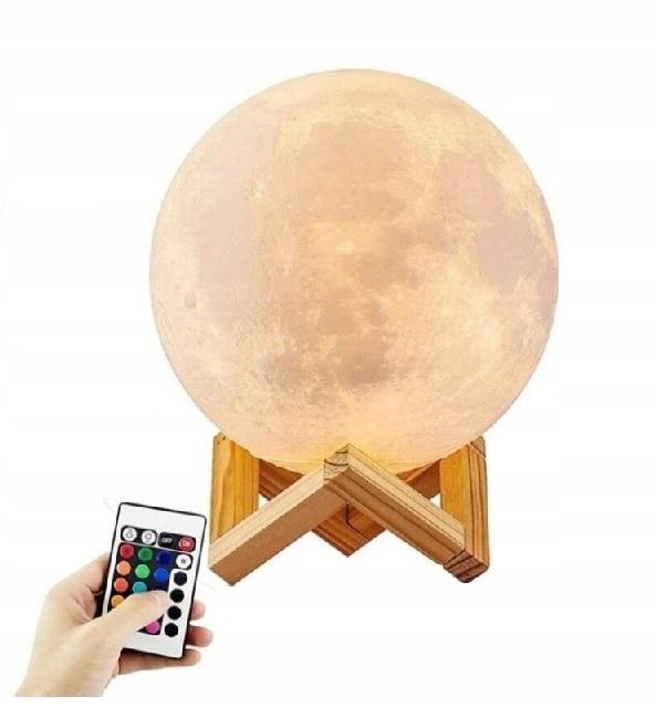 LAMPKA NOCNA KSIĘŻYC 3D MOON LIGHT Z PILOTEM 15CM